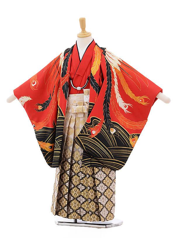 七五三レンタル(5歳男の子袴)5284 花わらべ 赤地 鳳凰×白地袴