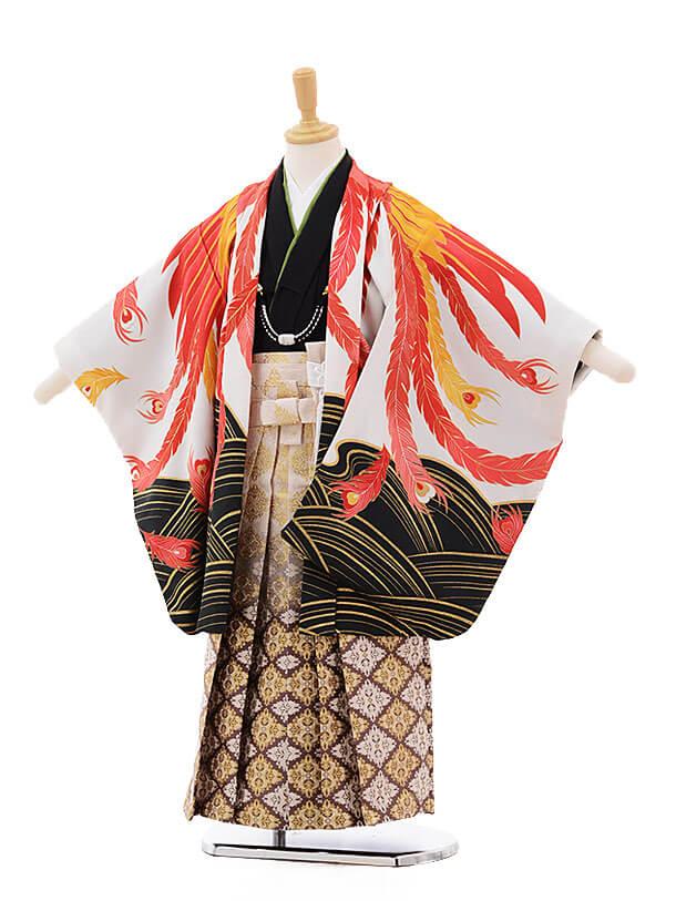 七五三レンタル(5歳男の子袴)5285 花わらべ 白地 鳳凰×白地袴