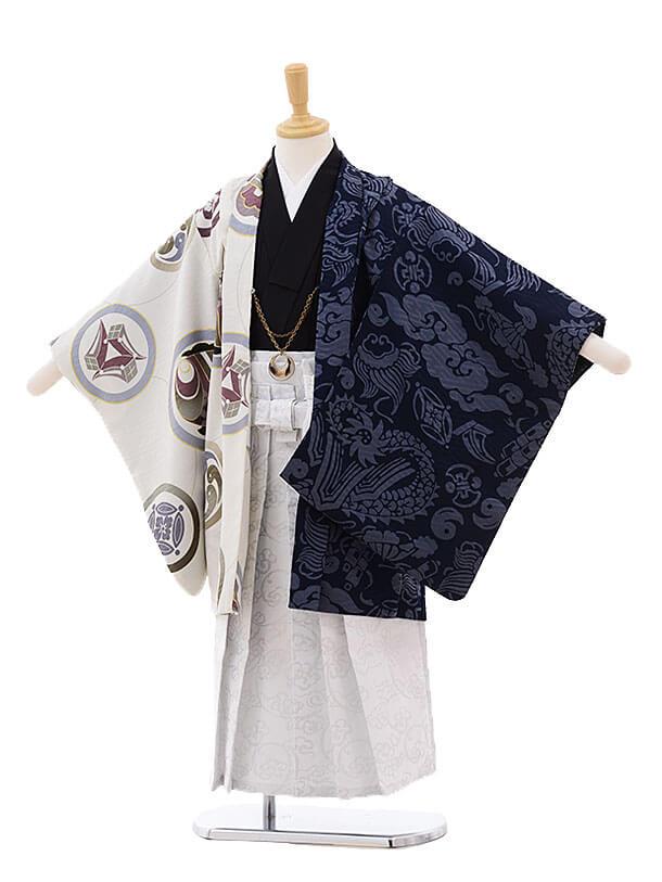 七五三レンタル(5歳男の子袴)5289 UNSODO ベージュ×紺