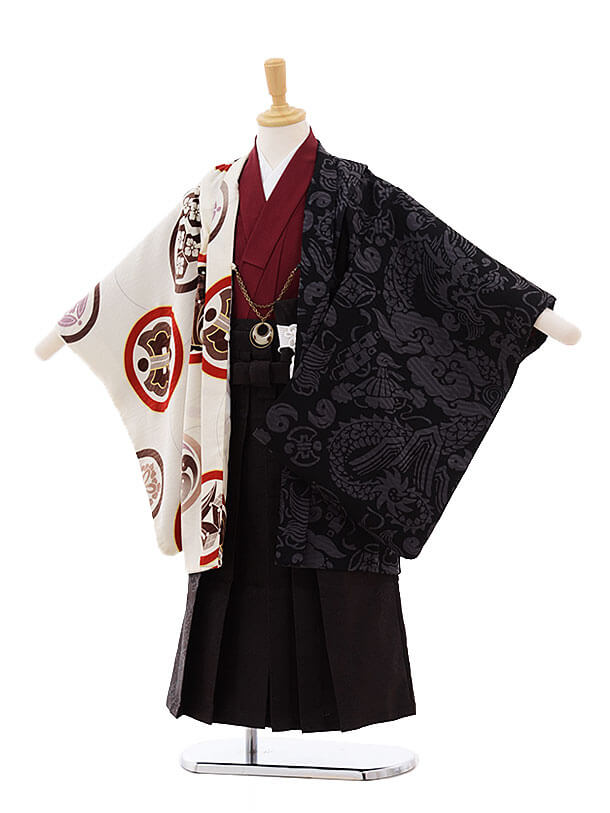七五三レンタル(5歳男の子袴)5290 UNSODO ベージュ×黒