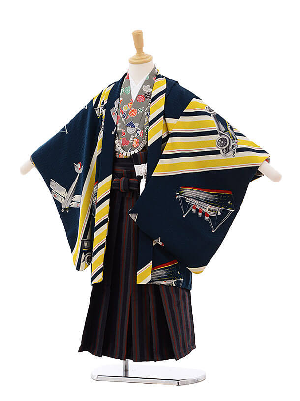 七五三レンタル(5歳男の子袴)5293 モダンアンテナ 紺 乗り物