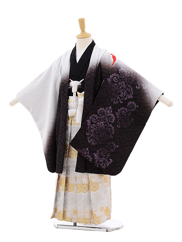 かんたん七五三(5歳男の子袴)5295 白ぼかし フェニックス×白地袴