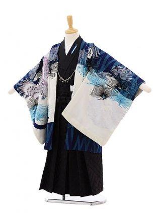 七五三レンタル(5歳男の子袴)5297JAPANSTYLE 紺鷹×黒地茶柄袴