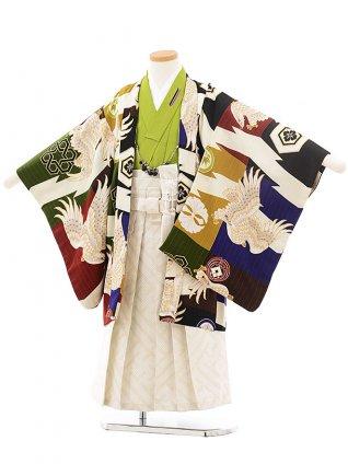 七五三(5男袴)5298 JAPAN STYLE 多色鷹 グリーン×薄黄袴