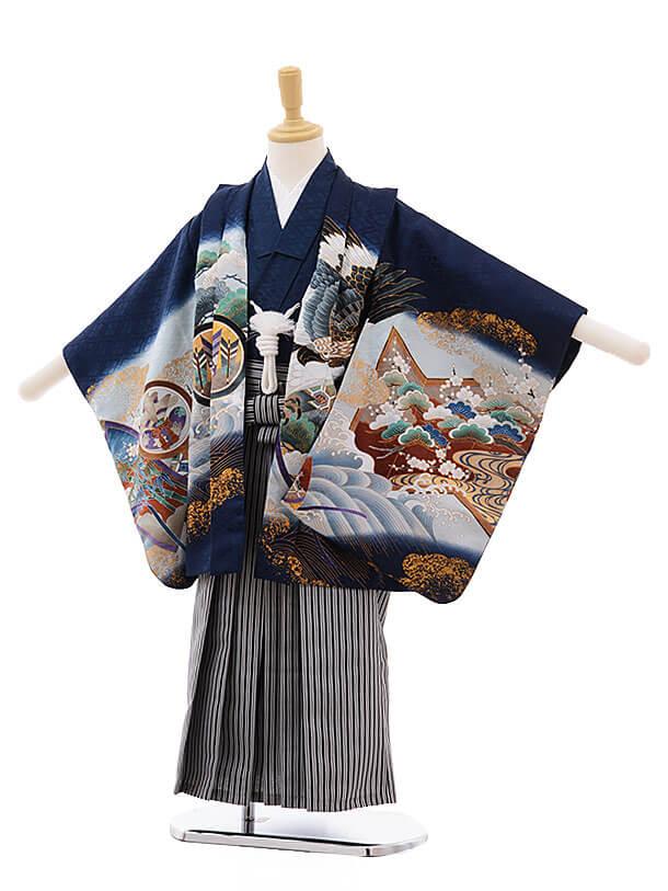 七五三(5男袴)5300 紺地 屏風 兜
