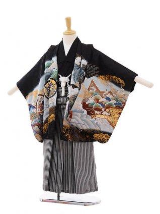 七五三(5男袴)5303 黒地 屏風 兜×黒縞袴