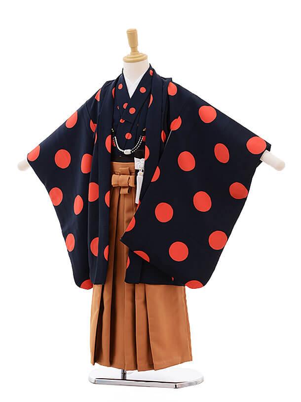 七五三(5男袴)5307 紺 オレンジ ドット
