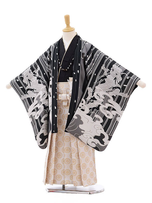 七五三(5男袴)5308 おりびと 黒 ストライプ 波に龍×白地袴
