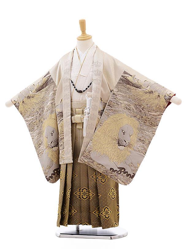 七五三(5男袴)5309 おりびと ベージュ 百獣の王