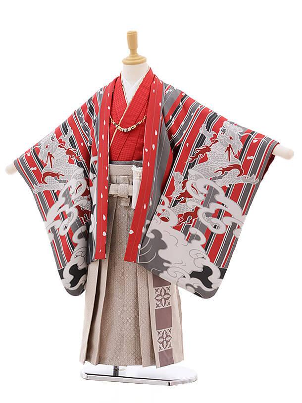 七五三(5男袴)5310 おりびと 赤 ストライプ 波に龍