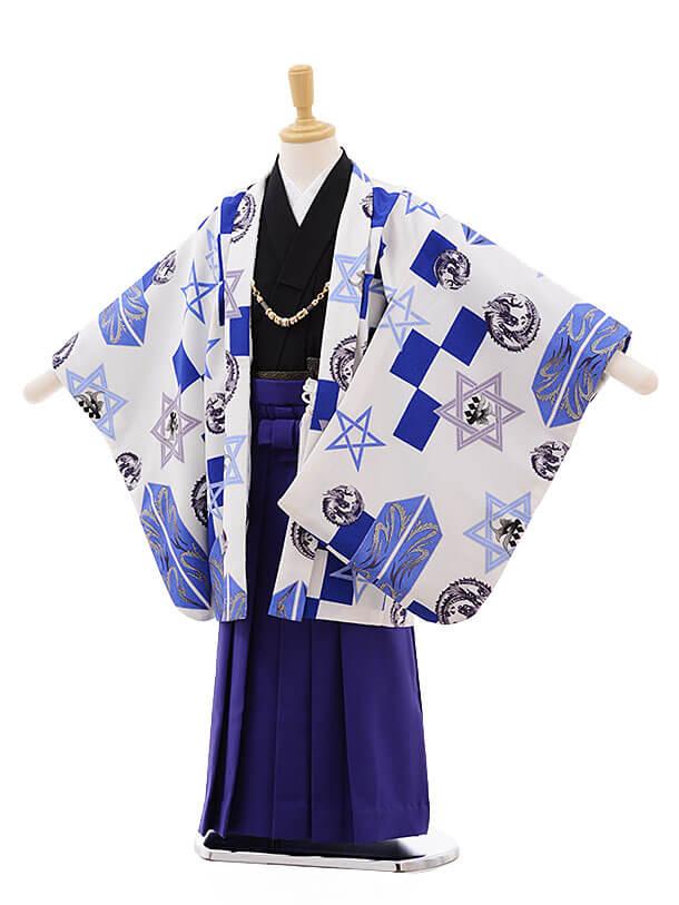 七五三(5男袴)5312 式部浪漫 白地にブルー柄