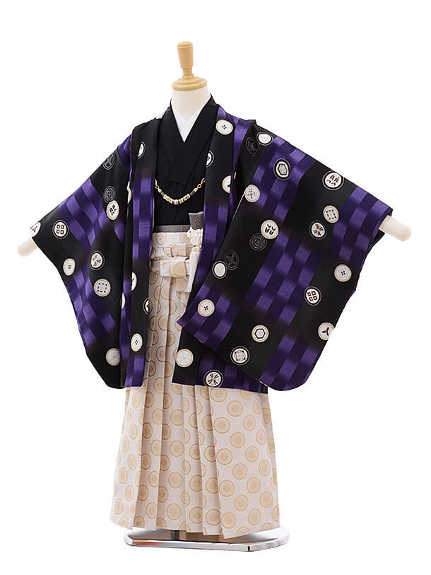 七五三(5男袴)5316 式部浪漫 黒 丸紋