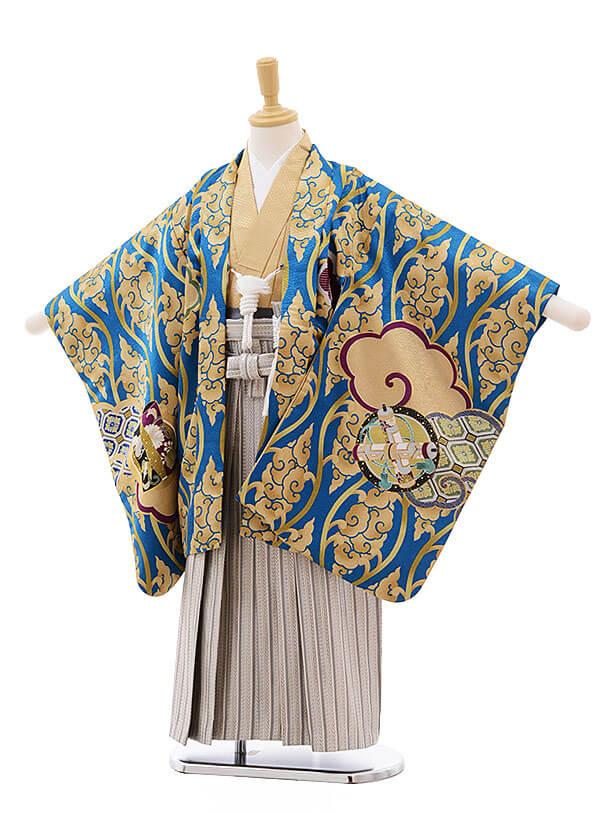 七五三(5男袴)5319 ブルー地 ゴールドに鷹
