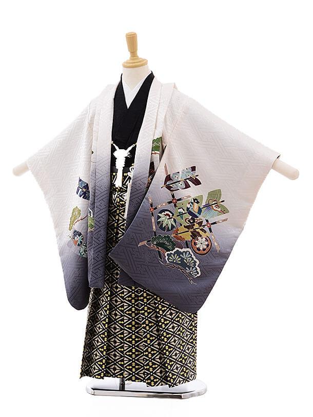 七五三(5男袴)5324 白地 松に矢(羽織 着物正絹)×黒地袴