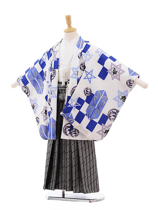 七五三(5男袴)5325 式部浪漫 白地にブルー柄