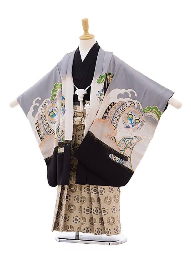 七五三(5男袴)5328 グレー地 松に兜(正絹)