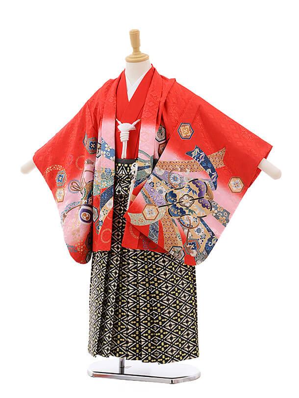 七五三レンタル(5男袴)5329 赤地 のしめ 鷹