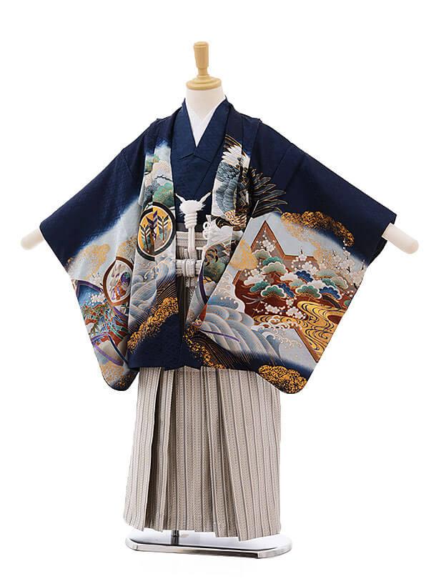 七五三レンタル(5男袴)5331 紺地 屏風に兜