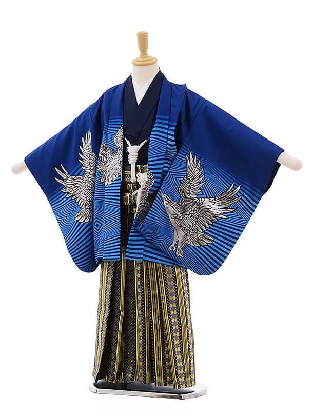 七五三レンタル(5男袴)5332 ブルー地 ゴールド 鷹