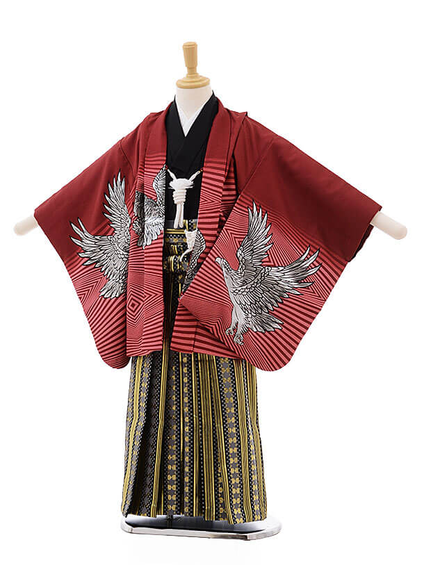 七五三レンタル(5男袴)5333 エンジ地 ゴールド 鷹