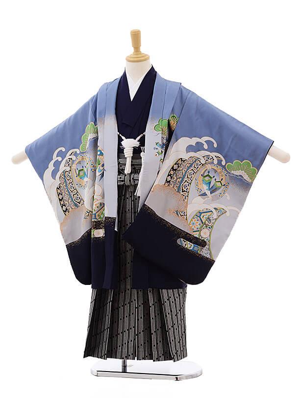七五三レンタル(5男袴)5335 ブルーグレーぼかし 鷹 (正絹)