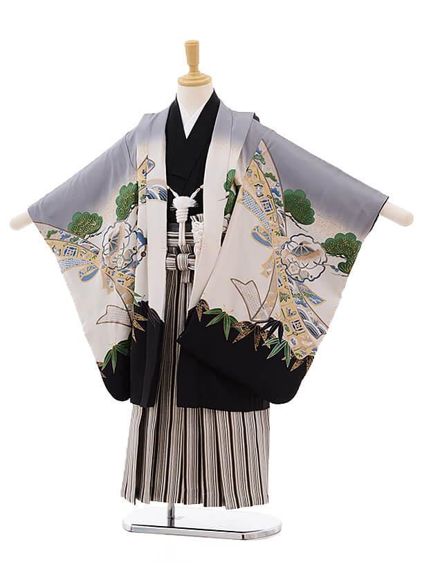 七五三レンタル(5男袴)5336 グレーぼかし 鷹(正絹)