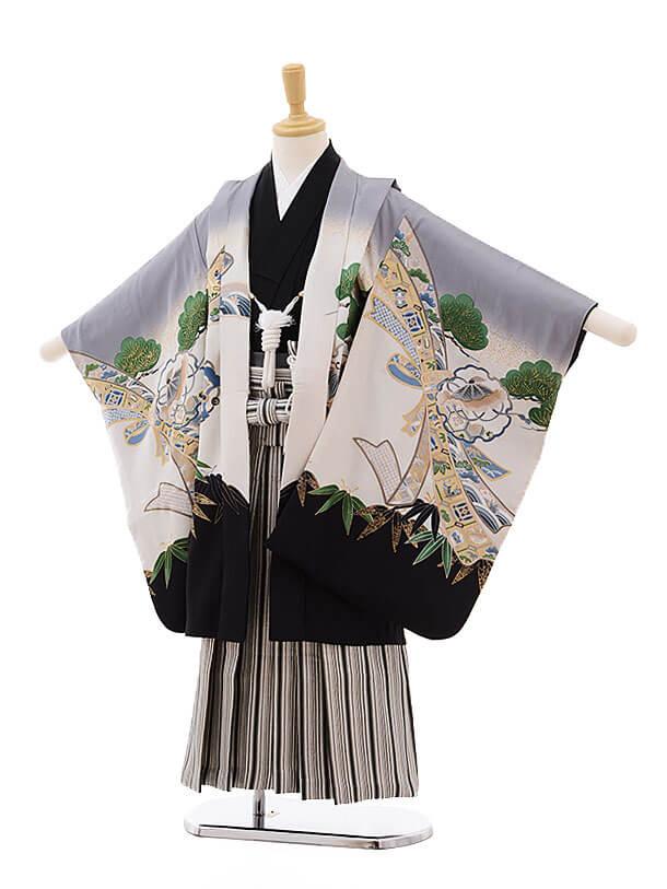七五三レンタル(5男袴)5337 グレーぼかし 鷹(正絹)