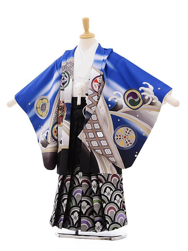 七五三レンタル(5男袴)5338 式部浪漫 ブルー 丸紋に鷹