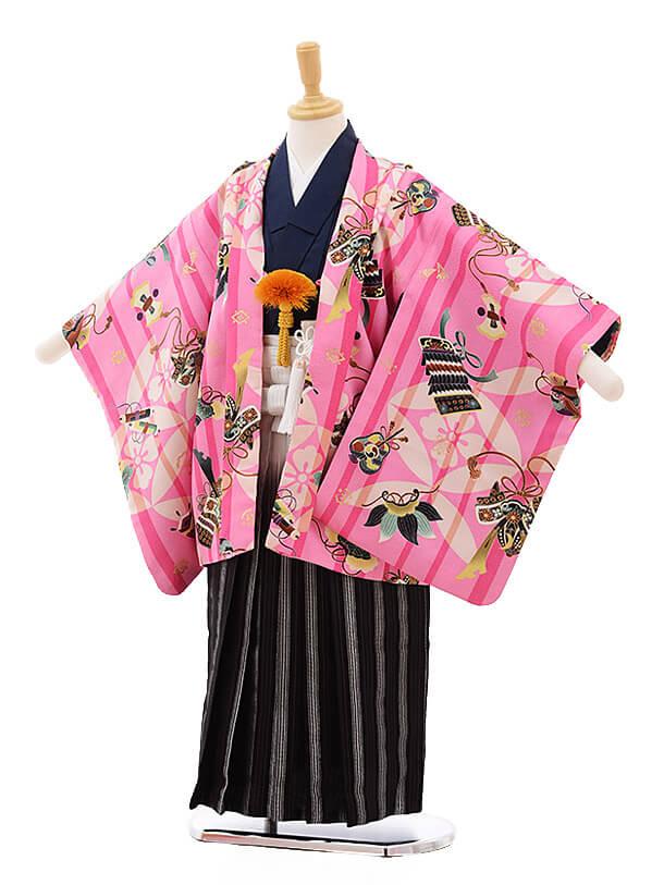 七五三レンタル(5歳男袴)5353 cotocomachi ピンク地 武将具