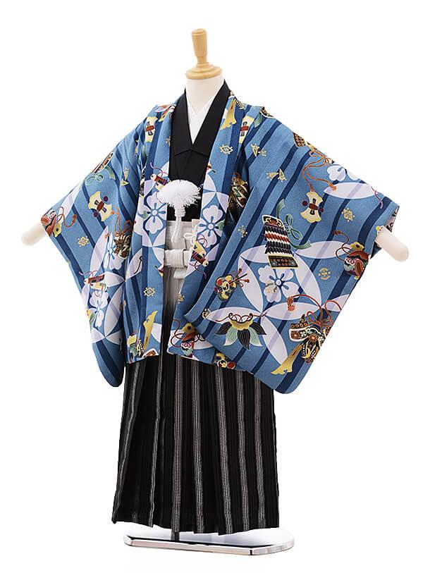 七五三レンタル(5歳男袴)5354 cotocomachi ブルー地 武将具