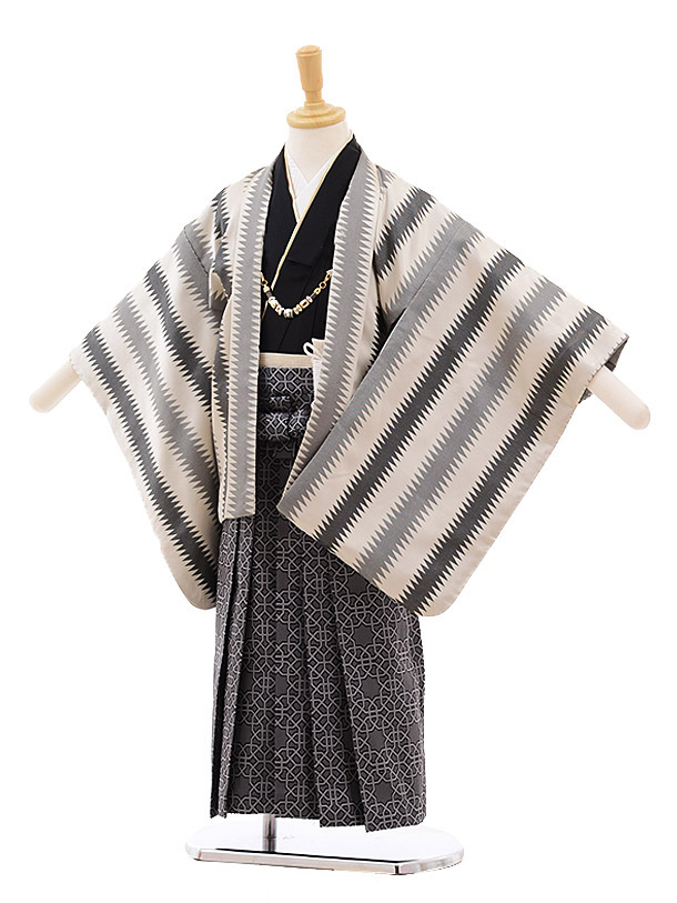 七五三レンタル(4歳男袴)5356 おりびと ベージュ グレーストライプ