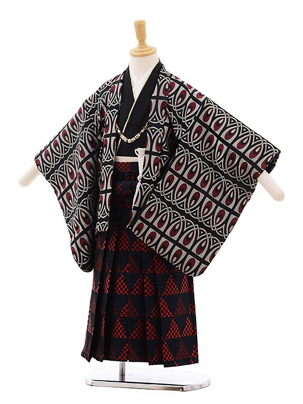 七五三(4歳男袴)5357 おりびと 黒地 赤変わり柄