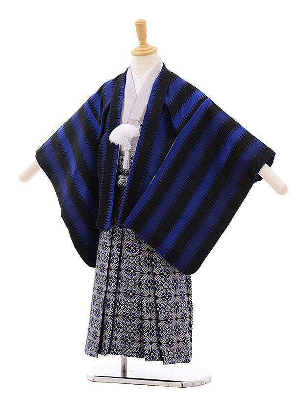 七五三(4歳男袴)5358 おりびと 黒 ブルーストライプ