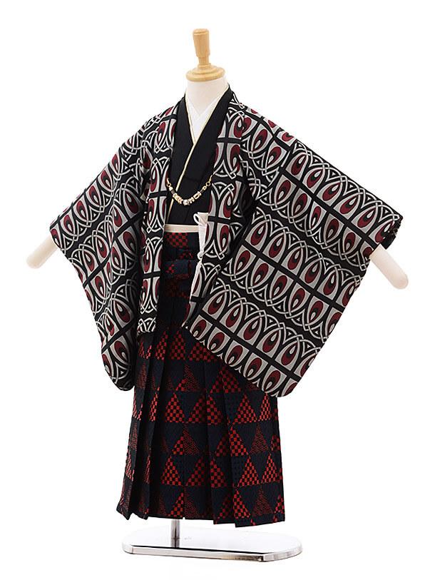 七五三レンタル(5歳男袴)5363 おりびと 黒地 赤変わり柄