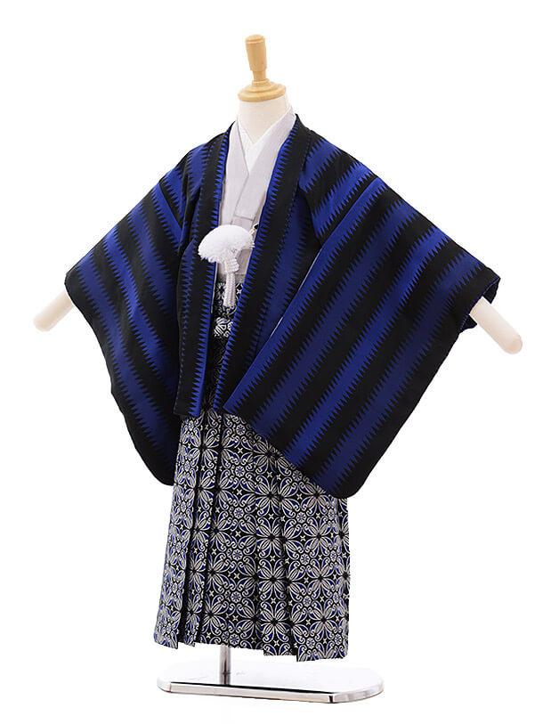七五三レンタル(5歳男袴)5364 おりびと 黒 ブルーストライプ