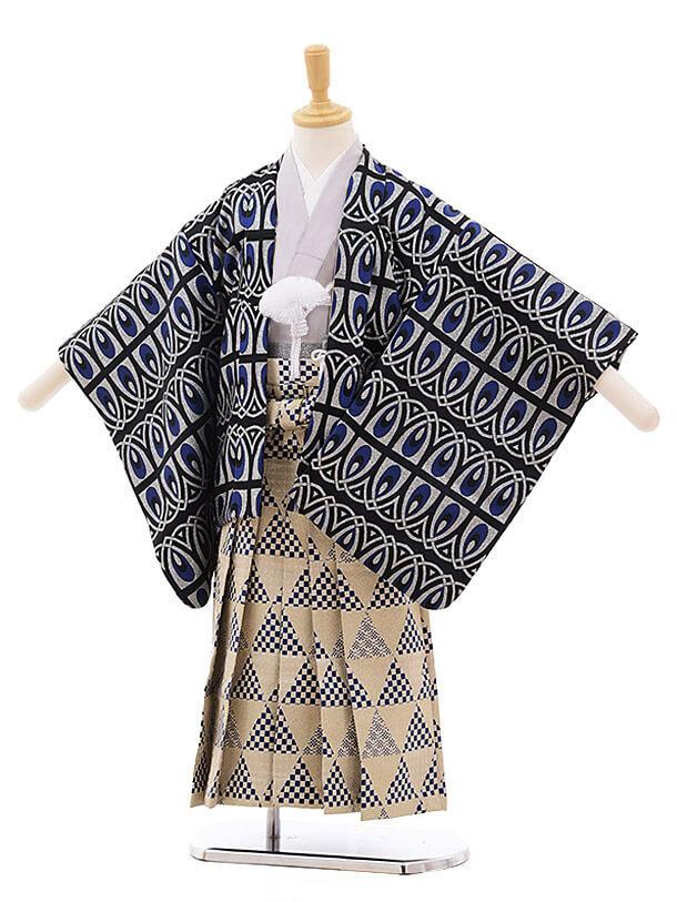 七五三レンタル(5歳男袴)5365 おりびと 黒地 ブルー変わり柄