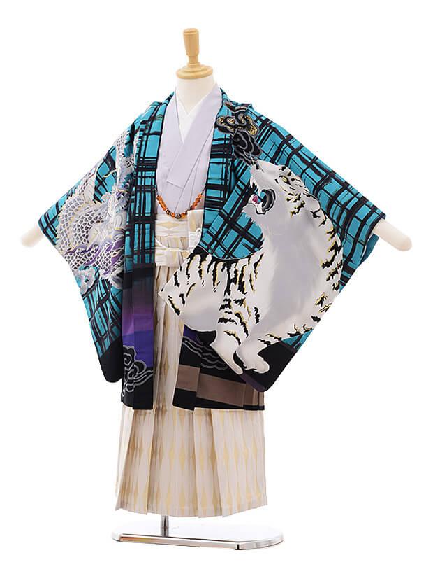 七五三レンタル(5歳男袴)5371 蒼 ターコイズ 富士にかぶと 虎に龍