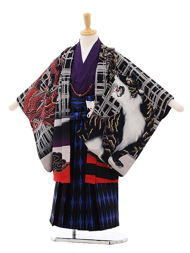 七五三レンタル(5歳男袴)5372 蒼 黒 富士にかぶと 虎に龍