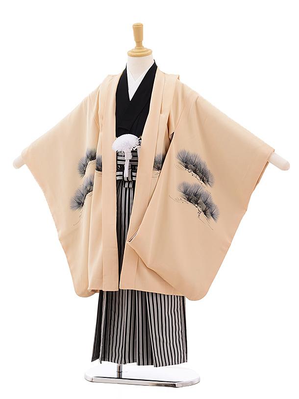 七五三(5歳男袴)5377 ベージュ 手描 松に鷹 (着物・袴 正絹)