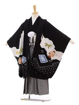 七五三(5歳男袴)5380 (正絹)黒地 絞り 小槌 鷹 刺しゅう ×黒縞袴