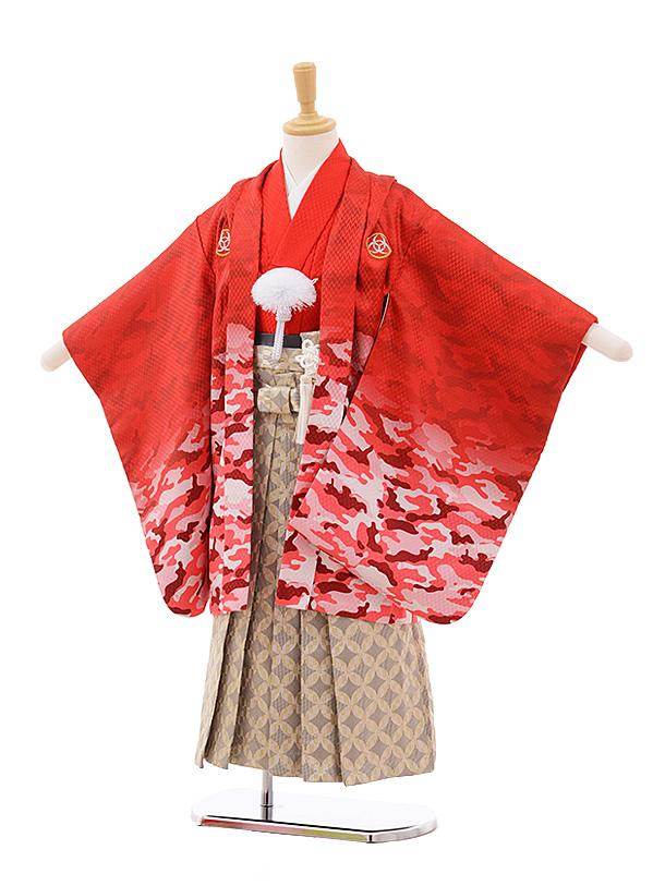 七五三(5歳男袴)5382 赤地カモフラージュ×ベージュ袴