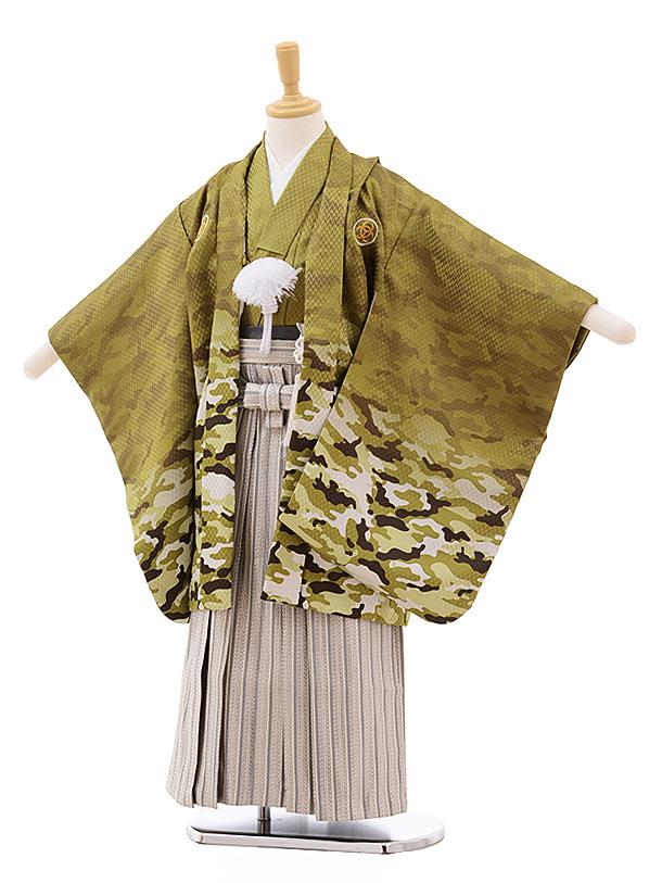 七五三(5歳男袴)5383 グリーンカモフラージュ×ベージュ袴