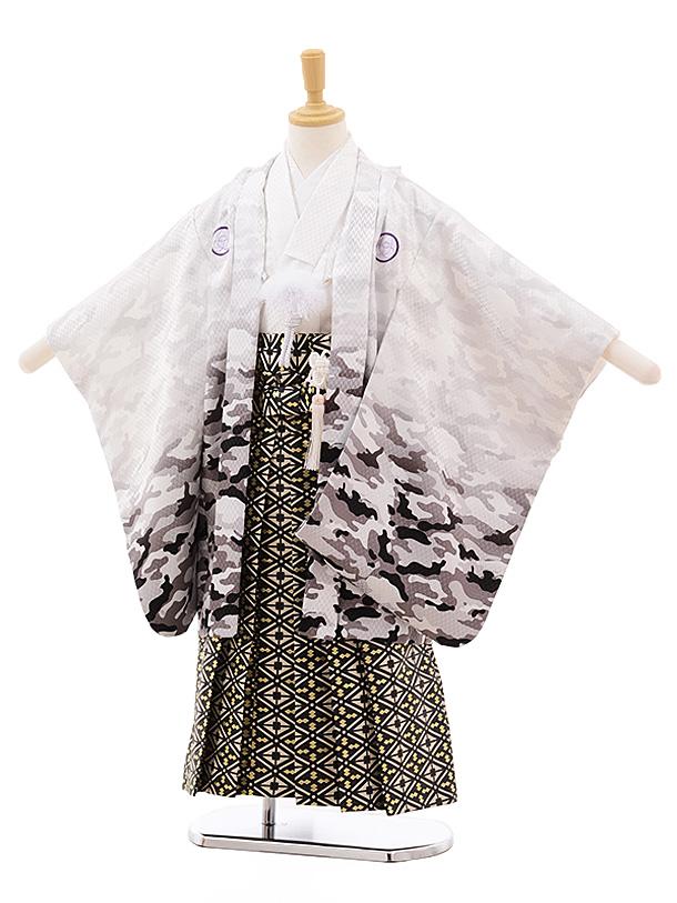 七五三(5歳男袴)5384 白地カモフラージュ×黒金袴