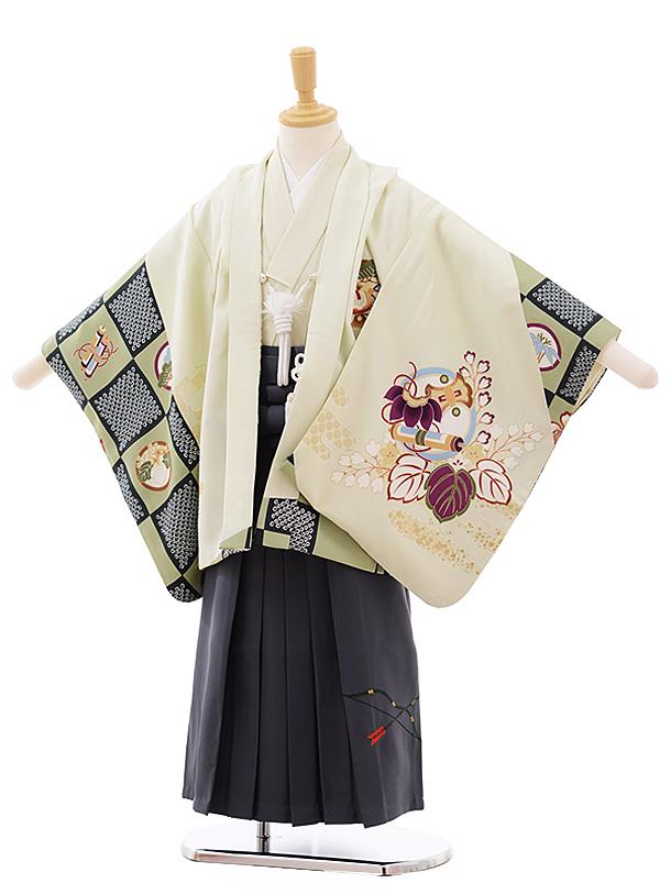 簡単七五三(5歳男袴)5388 パステルグリーン地 矢羽根に小槌×グレー袴