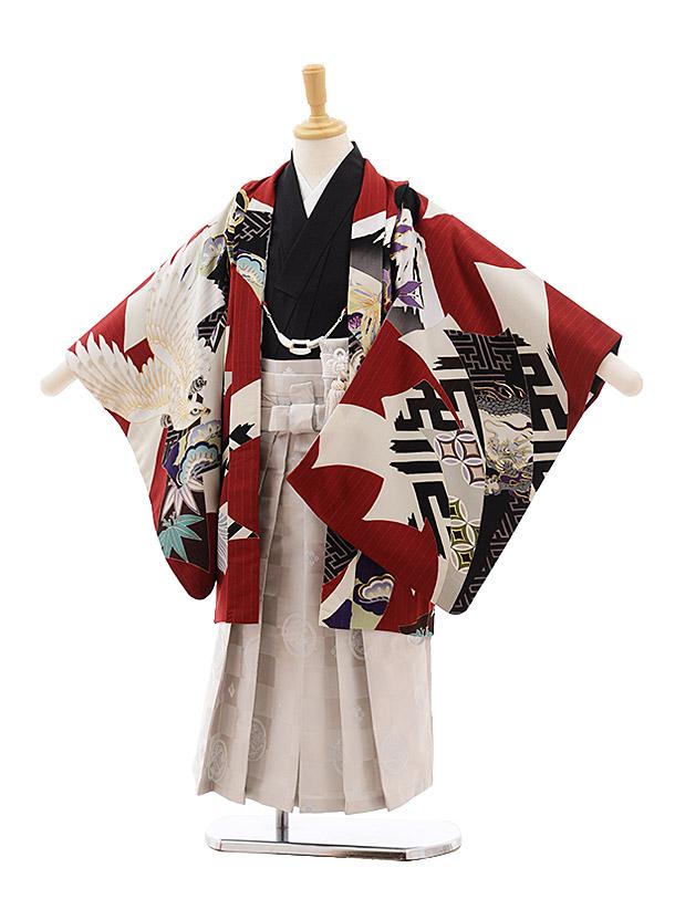 七五三(5歳男袴)5395 JAPANSTYLE 赤地 鷹にのし×オフホワイト袴