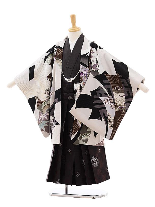 七五三(5歳男袴)5396 JAPANSTYLE ベージュ地鷹にのし×濃灰袴