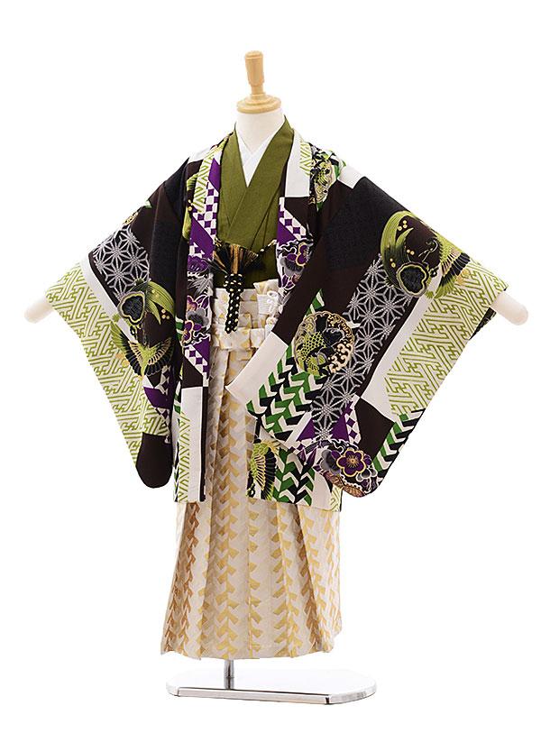 七五三(5歳男袴)5397 HAIBARA グリーン 矢羽根に丸紋×クリーム袴