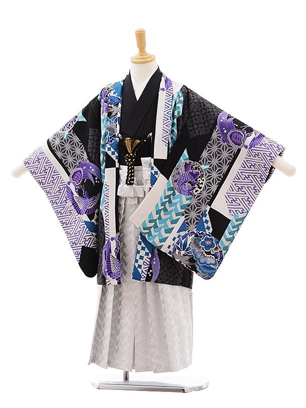 七五三(5歳男袴)5398 HAIBARA ブルー 矢羽根に丸紋×白地袴