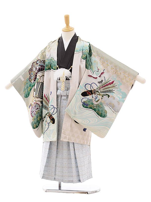 七五三(5歳男袴)5400 乙葉グリーンベージュ源氏車にかぶと×白地水色袴