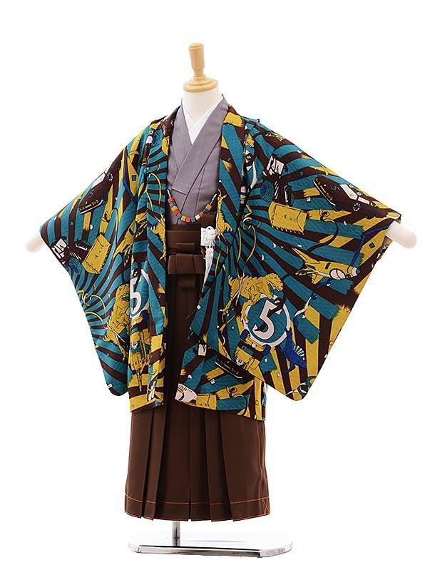 七五三(5歳男袴)5402 モダンアンテナ 茶×グリーン 恐竜と乗り物×茶袴